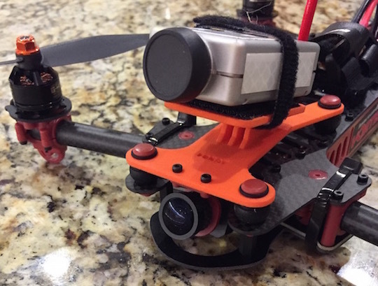 The FPV mount in the Vortex, ready to fly